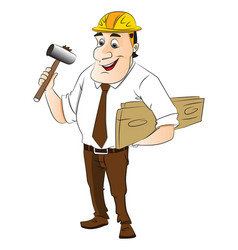 construction worker holding hammer and wooden vector image vector image