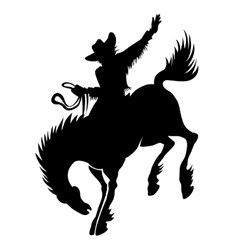 Cowboy at rodeo silhouette vector image