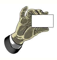 hand holding white blank card in engraved style vector image vector image