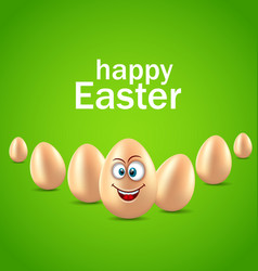 happy easter card with funny egg humor invitation vector image