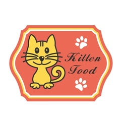 Pretty kitten food label vector image