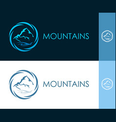 round icon with mountain in circle vector image vector image