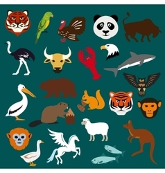 Animal and bird flat icons vector image vector image