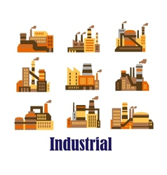 Flat industrial icons of plants and factories vector image vector image