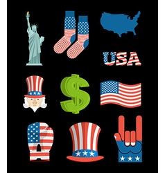 America symbol set USA National Landmark State vector image vector image