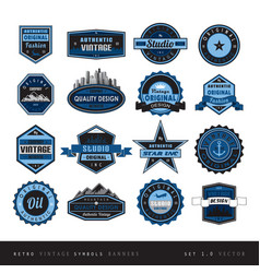 blue vintage retro labels black and white isolated vector image