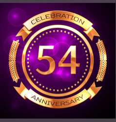 fifty four years anniversary celebration with vector image