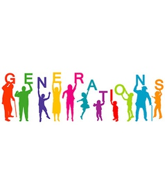 Generations concept with people from different vector image
