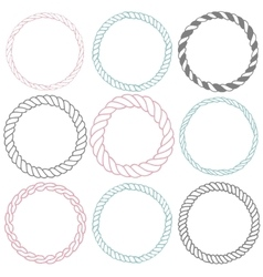 Set of 9 decorative circle border frames vector