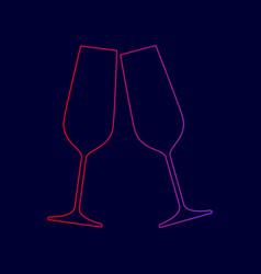 sparkling champagne glasses line icon vector image