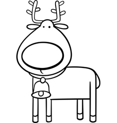 christmas reindeer coloring page vector image vector image