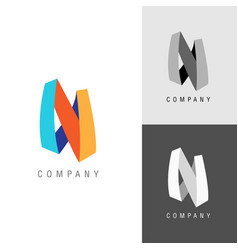 logo design element letter symbol n vector image
