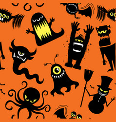 silhouette monsters pattern vector image vector image