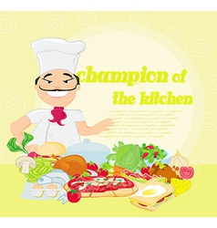 smiling chef and various dishes vector image vector image