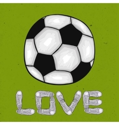 Words of love for the sport on the football field vector image vector image