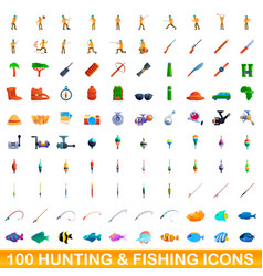 100 hunting and fishing icons set cartoon style vector image