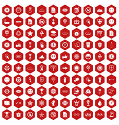 100 symbol icons hexagon red vector