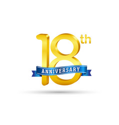 18th golden anniversary logo with blue ribbon vector