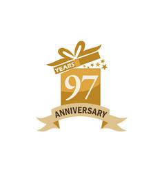 97 years gift box ribbon anniversary vector