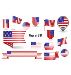 a large set icons and signs with flag of vector image