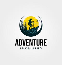 adventure hiking logo vintage with sunset design vector image