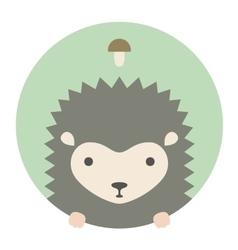 Animal set Portrait in flat graphics - Hedgehog vector