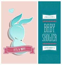 Baby shower invitation bunny boy vector image vector image