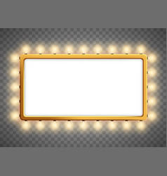 banner or frame with light bulbs with copy space vector image