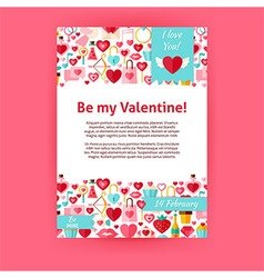 be my valentine holiday invitation template flyer vector image
