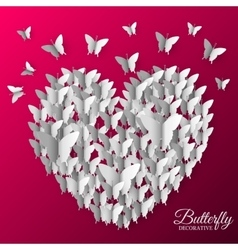 Beautiful colorful butterfly heart on valintines vector
