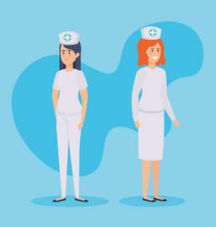 beautiful nurses medical characters vector image