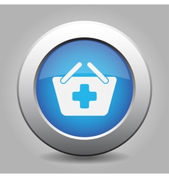 Blue button - shopping basket plus vector