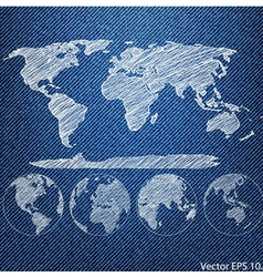 Blue Denim Texture with Globe vector image