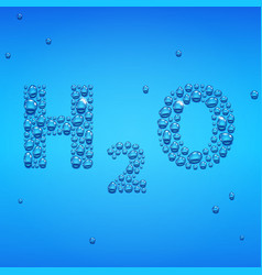 blue drops h2o lettering vector image