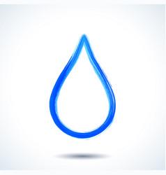 blue watercolor brush painted ink water drop vector image