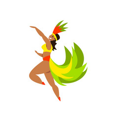 Brazilian samba female dancer in bright carnival vector