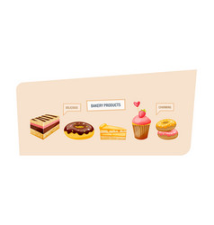 Cakes donuts with glaze slices of cake cupcakes vector