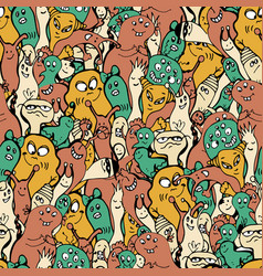cartoon monsters seamless pattern hand draw vector image