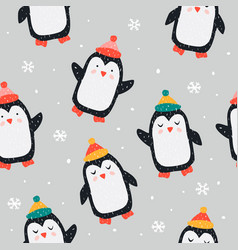 childish seamless pattern with cute penguin vector image