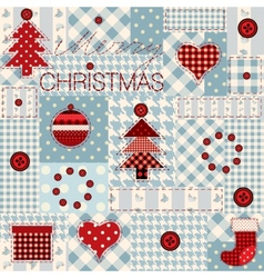 Christmas background in patchwork style vector