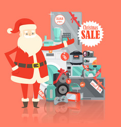 Christmas big sale from santa claus in storehouse vector