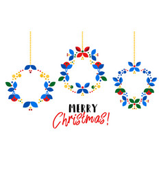 christmas wreath scandinavian style flat vector image