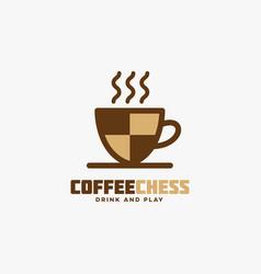 Coffee chess logo vector