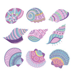 Colorful seashells set vector