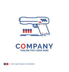 Company name logo design for gun handgun pistol vector