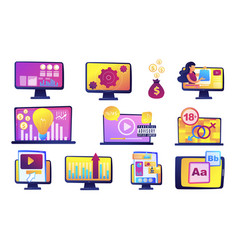computer and digital content vector image