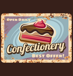 confectionery or cafe rusty metal plate vector image