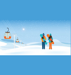 couple snowboarders standing with snowboards vector image