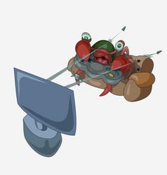 Crab gamer plays an shooter vector