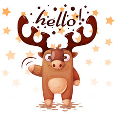 crazy funny cute paper deer characters vector image